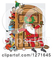 Clipart Of A Santa Claus Leaning Against An Overflowing Closet Door Royalty Free Vector Illustration