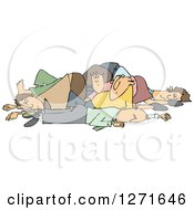 Clipart Of A Pile Of White People Royalty Free Vector Illustration by djart