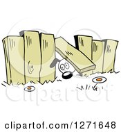 Clipart Of A Dog Going Under A Fence To Another Yard Royalty Free Vector Illustration by Johnny Sajem