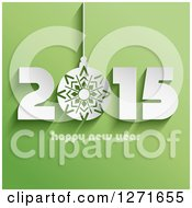Clipart Of A 3d White Bauble In 2015 Happy New Year Text On Green Royalty Free Vector Illustration