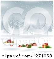 Clipart Of A Background With 3d Christmas Baubles And Gifts In The Snow With Trees Royalty Free Vector Illustration