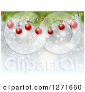 Clipart Of A Blue Background With Christmas Lights Red Baubles Bokeh And Snowflakes Royalty Free Vector Illustration by KJ Pargeter