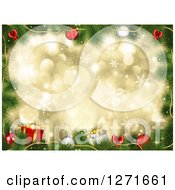 Christmas Background Of 3d Baubles Tree Branches And Gifts Over Gold Bokeh And Snowflakes