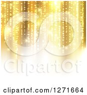 Clipart Of A Christmas Background Of Vertical Golden Lights And White Royalty Free Vector Illustration