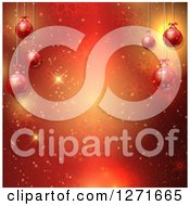 Clipart Of A Red Background With 3d Christmas Baubles Flares And Snowflakes Royalty Free Vector Illustration