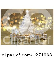Clipart Of A White Feather Christmas Tree And Gifs Over Bokeh And Sparkles Royalty Free Illustration