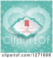 Clipart Of A Gift And Merry Christmas And A Happy New Year Text Over Blue With Snowflakes Royalty Free Vector Illustration