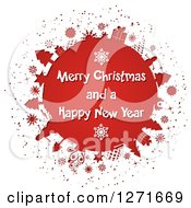 Clipart Of A White Paper Cut Out Revealing A Red Globe With Trees Gifts Snowflakes And Snowmen And White Merry Christmas And A Happy New Year Text Royalty Free Vector Illustration by KJ Pargeter