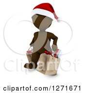 Clipart Of A 3d Brown Man Wearing A Santa Hat And Christmas Shopping Royalty Free Illustration