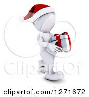 Clipart Of A 3d White Man Carrying A Christmas Gift Royalty Free Illustration by KJ Pargeter