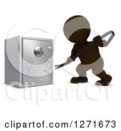 Clipart Of A 3d Brown Man Breaking Into A Safe Vault With A Crow Bar Royalty Free Illustration