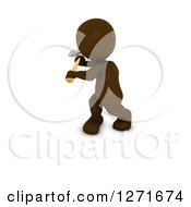 Clipart Of A 3d Brown Man Using An Axe On A White Background Royalty Free Illustration
