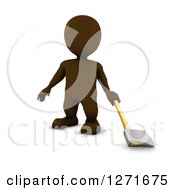 Clipart Of A 3d Brown Man Standing With An Axe On A White Background Royalty Free Illustration
