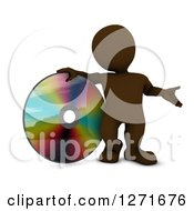 Clipart Of A 3d Brown Man Presenting And Standing With A Giant CD DVD Or Blu Ray Disk Royalty Free Illustration