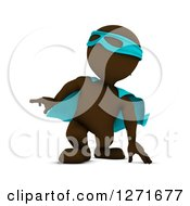 Clipart Of A 3d Brown Man Super Hero Landing Royalty Free Illustration