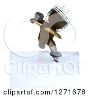 Clipart Of A 3d Brown Man Hockey Player Hitting A Puck Royalty Free Illustration