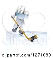 Clipart Of A 3d White Hockey Player Man In Action Royalty Free Illustration