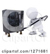 Clipart Of A 3d White Man Breaking Into A Safe Vault With A Crow Bar Royalty Free Illustration
