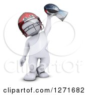 Clipart Of A 3d White Man Football Player Holding Up A Championship Trophy Royalty Free Illustration