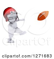 Clipart Of A 3d White Man Football Player Throwing Royalty Free Illustration
