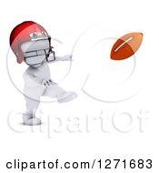 3d White Man Football Player Throwing