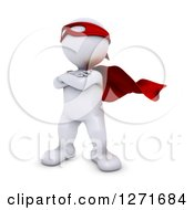 Clipart Of A 3d White Man Super Hero Posing Royalty Free Illustration