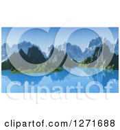 Clipart Of A 3d Mountainous Coastline With A Still Lake Royalty Free Illustration