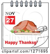 Clipart Of A November 27th Happy Thanksgiving Day Calendar With A Roasted Turkey Royalty Free Vector Illustration by Hit Toon