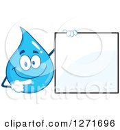Clipart Of A Happy Blue Water Drop Character Pointing To A Blank Sign Royalty Free Vector Illustration