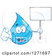 Clipart Of A Happy Blue Water Drop Character Pointing At You And Holding A Blank Sign Royalty Free Vector Illustration
