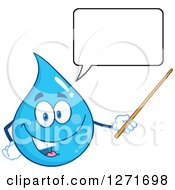 Clipart Of A Talking Blue Water Drop Character Using A Pointer Stick Royalty Free Vector Illustration