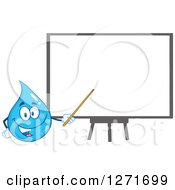 Clipart Of A Happy Blue Water Drop Character Pointing To A Presentation Board Royalty Free Vector Illustration