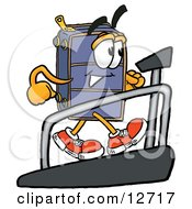 Suitcase Cartoon Character Walking On A Treadmill In A Fitness Gym