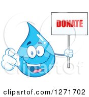 Clipart Of A Happy Blue Water Drop Character Pointing At You And Holding A Donate Sign Royalty Free Vector Illustration