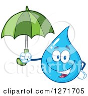 Clipart Of A Happy Blue Water Drop Character Holding An Umbrella Royalty Free Vector Illustration