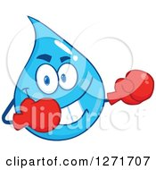 Clipart Of A Tough Blue Water Drop Character Wearing Boxing Gloves Royalty Free Vector Illustration