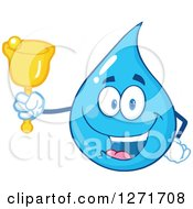 Happy Blue Water Drop Character Ringing A Charity Bell by Hit Toon