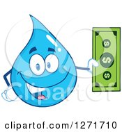 Happy Blue Water Drop Character Holding Cash Money by Hit Toon