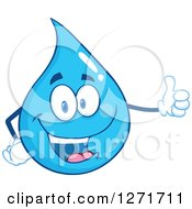 Clipart Of A Happy Blue Water Drop Character Giving A Thumb Up Royalty Free Vector Illustration by Hit Toon