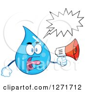 Clipart Of A Mad Blue Water Drop Character Shouting Through A Megaphone Royalty Free Vector Illustration by Hit Toon