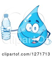 Clipart Of A Happy Blue Water Drop Character Holding A Bottle Royalty Free Vector Illustration by Hit Toon