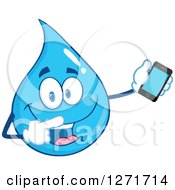 Clipart Of A Happy Blue Water Drop Character Holding And Pointing To A Smart Phone Royalty Free Vector Illustration