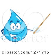 Clipart Of A Happy Blue Water Drop Character Using A Pointer Stick Royalty Free Vector Illustration by Hit Toon