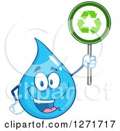 Clipart Of A Happy Blue Water Drop Character Holding A Recycle Sign Royalty Free Vector Illustration by Hit Toon