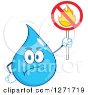 Mad Blue Water Drop Character Holding A No Fire Sign by Hit Toon