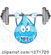 Clipart Of A Happy Blue Water Drop Character Working Out With A Barbell Royalty Free Vector Illustration by Hit Toon