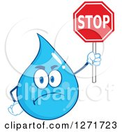 Clipart Of A Mad Blue Water Drop Character Holding A Stop Sign Royalty Free Vector Illustration by Hit Toon