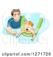 Clipart Of A Father Or Coach Teaching A Red Haired White Boy How To Swim With A Noodle Royalty Free Vector Illustration by BNP Design Studio