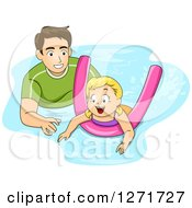 Clipart Of A Brunette White Father Or Coach Teaching A Girl How To Swim With A Noodle Royalty Free Vector Illustration by BNP Design Studio