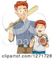 Clipart Of A Proud Brunette White Father Teaching His Son How To Play Baseball Royalty Free Vector Illustration by BNP Design Studio